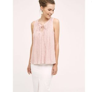 Anthropologie Pleated Tie- Neck Tank Pink L